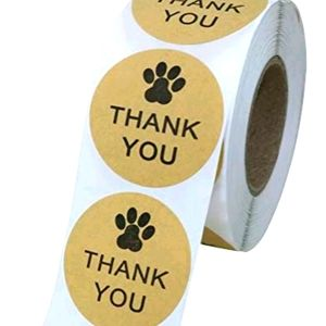 🐾50 Kraft Thank You Paw Print Stickers {4 left}